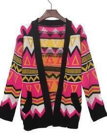 Rose Red Contrast Black Trim Geometric Tribal Cardigan Sweater