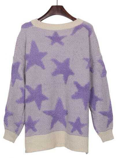 White Purple Star Pattern Dip Hem Batwing Sleeve Sweater
