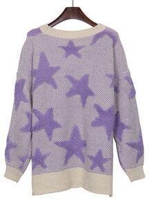 White Purple Star Pattern Dip Hem Batwing Sleeve Sweater