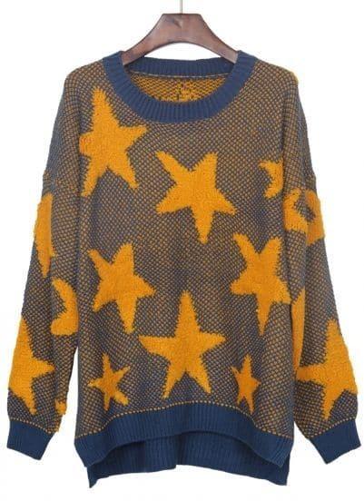 Navy Yellow Star Pattern Dip Hem Batwing Sleeve Sweater