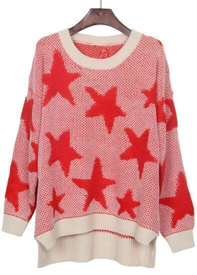White Red Star Pattern Dip Hem Batwing Sleeve Sweater
