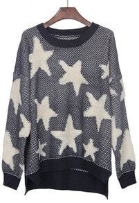 Black Apricot Star Pattern Dip Hem Batwing Sleeve Sweater