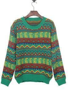 Green Tribal Pattern Round Neck Jumper Sweater