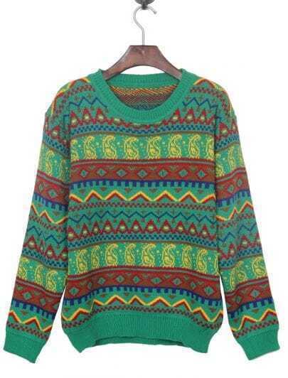 Green Tribal Pattern Round Neck Jumper Sweater