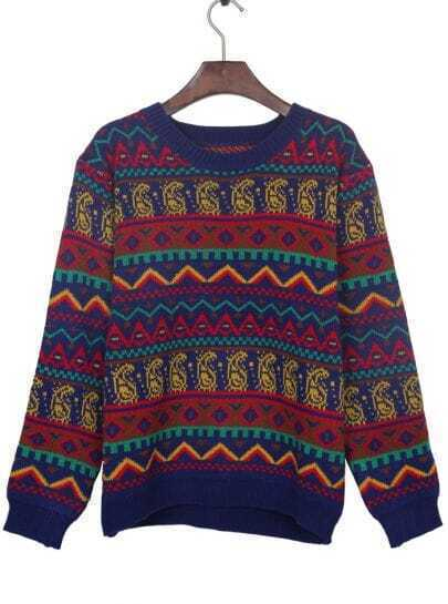 Sapphire Blue Tribal Pattern Round Neck Jumper Sweater
