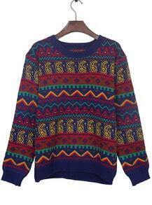 Sapphire Blue Tribal Pattern Round Neck Jumper Sweater