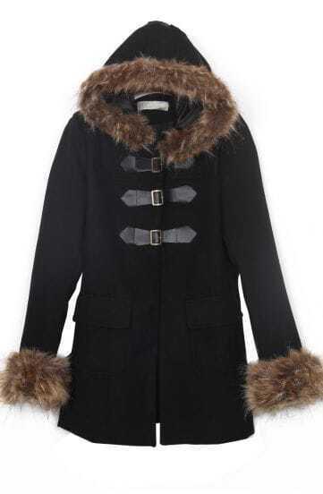 Black Fur Trim Hooded and Cuffs Duffle Woolen Coat