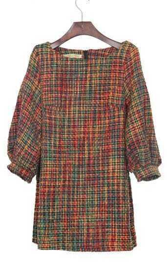 Mulitcolor Half Puff Sleeve Zipper Back Tweed Shift Dress