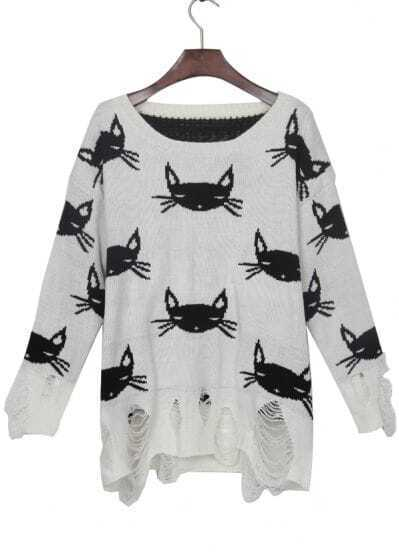 White Black Cat Print Shredded Distressed Sweater