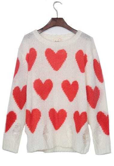 White Red Heart Shredded Distressed Pullover