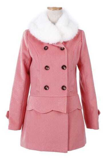 Pink Fur Collar Detachable Scallop Hem Woolen Coat