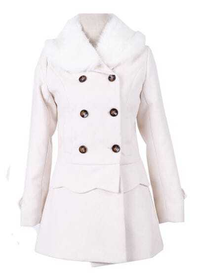 Beige Fur Collar Detachable Scallop Hem Woolen Coat