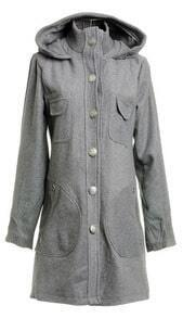 Grey Knitted Trim Hooded Pockets Front Long Woolen Coat