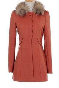Pink Deatchale Fur Collar Scallop Placket Woolen Coat