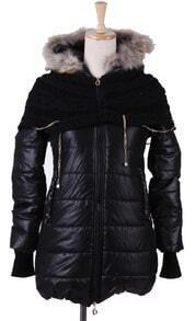 Black Fur Trim Hooded Contrast Sweater Chain Cape Padded Coat