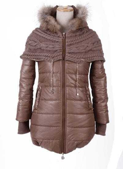 Coffee Fur Trim Hooded Contrast Sweater Chain Cape Padded Coat