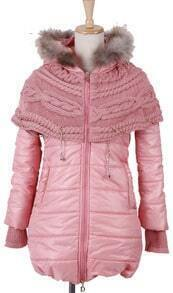 Pink Fur Trim Hooded Contrast Sweater Chain Cape Padded Coat