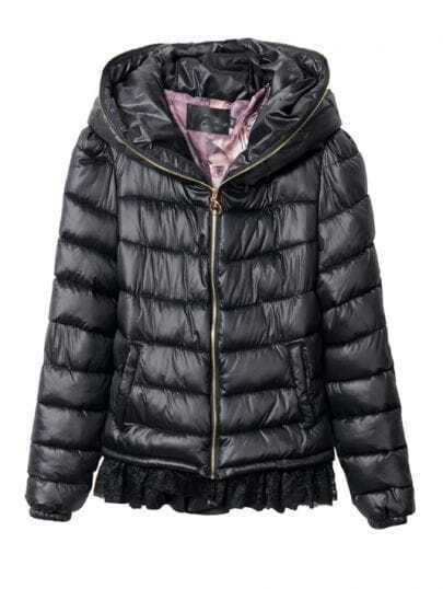 Black Zipper Embellished Hooded and Back Lace Hem Padded Jacket
