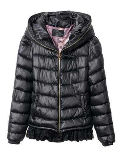 Black Zipper Embellished Hooded and Back Lace Hem Padded Jacket