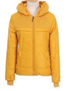 Yelloe Sweater Trim Hood Button Embellished Back Padded Jacket