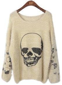 Apricot Long Sleeve Skull Print Loose Pullovers Sweater