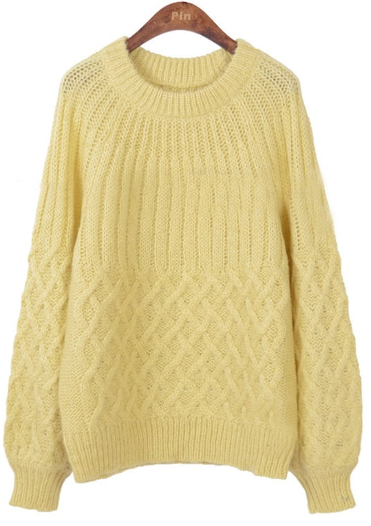 Light Yellow Long Sleeve Diaper Pullovers Sweater -SheIn(Sheinside)