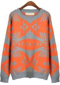Orange Grey Long Sleeve Geometric Loose Sweater