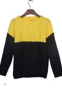 Navy Yellow Long Sleeve Serratula Pullovers Sweater