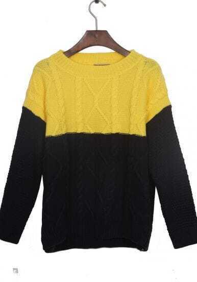 Navy Yellow Long Sleeve Serratula Pullovers Sweater