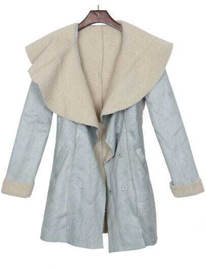Blue Fleece Cape Collar Pockets Suede Coat