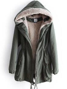 Green Hooded Long Sleeve Drawstring Pockets Coat