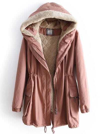 Dark Pink Hooded Long Sleeve Drawstring Pockets Coat