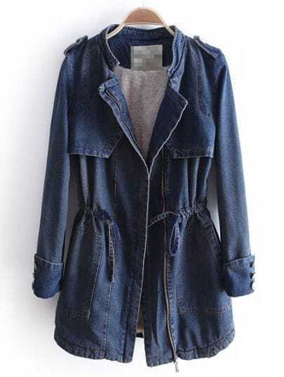 Blue Long Sleeve Zipper Drawstring Denim Coat