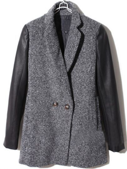 Dark Grey Contrast Leather Long Sleeve Buttons Coat