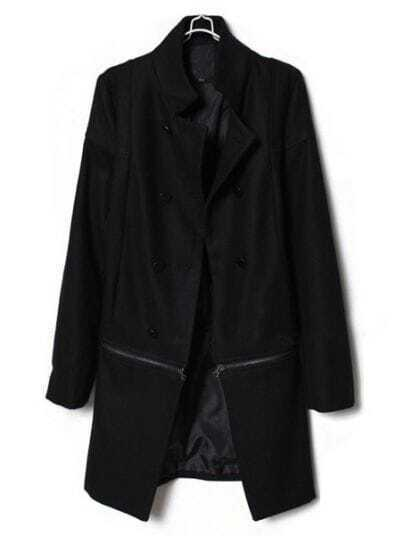 Black Detachable High Neck Long Sleeve Buttons Coat