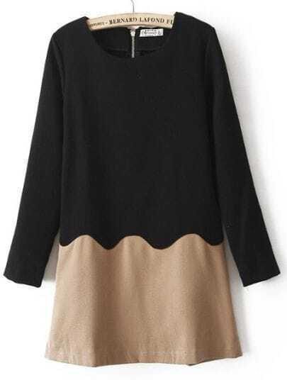 Black Khaki Long Sleeve Zigzag Zipper Dress
