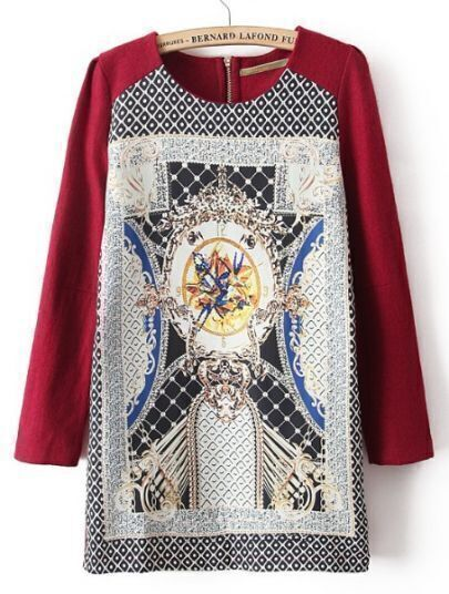 Red Long Sleeve Floral Back Zipper Dress