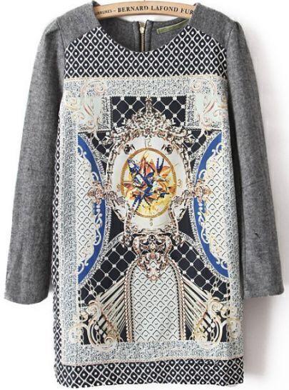 Grey Long Sleeve Floral Back Zipper Dress