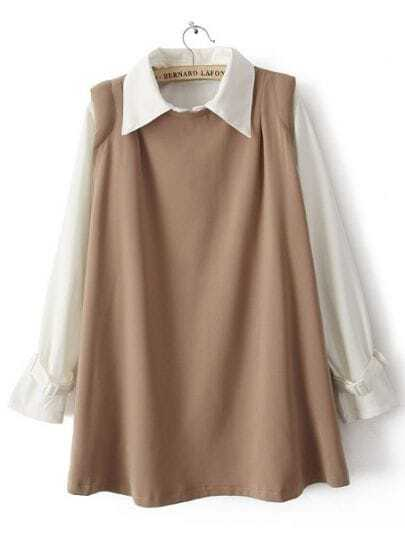 Khaki Lapel Long Sleeve Loose Two Pieces Dress