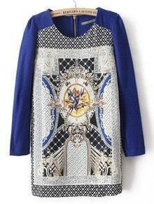 Blue Long Sleeve Floral Back Zipper Dress