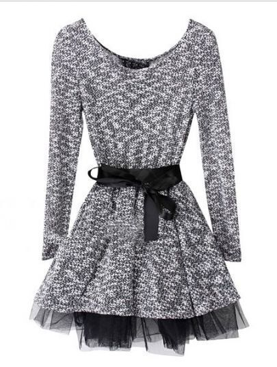 Grey Round Neck Long Sleeve Drawstring Dress