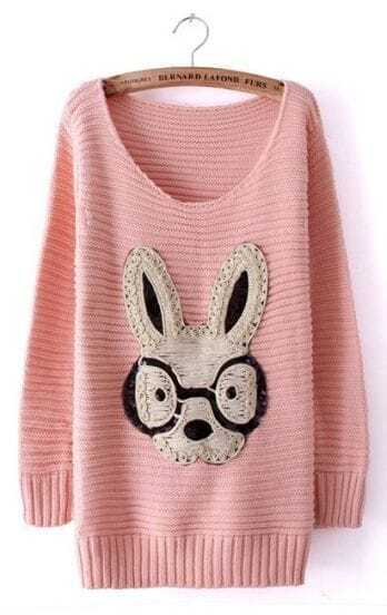 Pink Long Sleeve Rabbit Embellished Pullovers Sweater