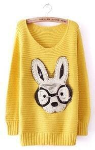 Yellow Long Sleeve Rabbit Embellished Pullovers Sweater