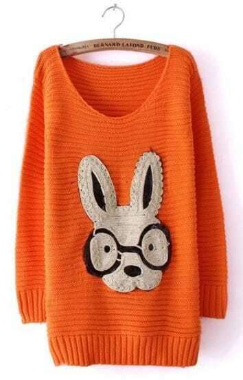 Orange Long Sleeve Rabbit Embellished Pullovers Sweater