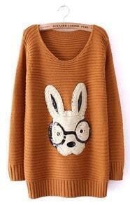 Khaki Long Sleeve Rabbit Embellished Pullovers Sweater