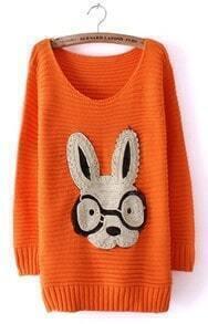 Orange Long Sleeve Rabbit Embellished Pullovers Sweater