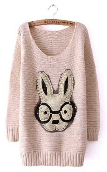 Beige Long Sleeve Rabbit Embellished Pullovers Sweater