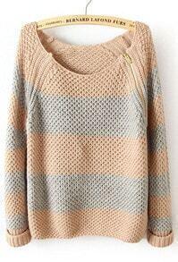 Pink Blue Striped Long Sleeve Zipper Sweater