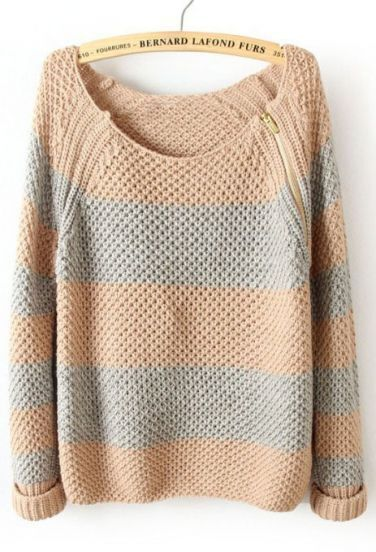 Pink Blue Striped Long Sleeve Zipper Sweater
