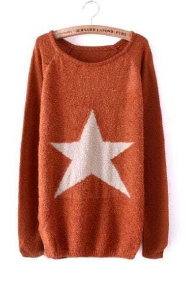 Red Long Sleeve Star Embellished Pullovers Sweater